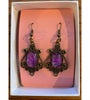 Oval Drop Antique Bronze Earrings - Purple2 Filigree