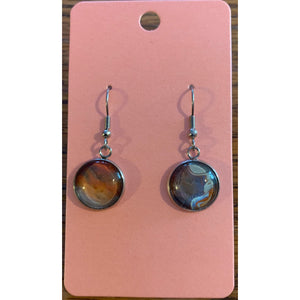 Silver Round Drop Earring Set - Blue2