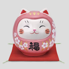Pink Cherry blossoms Cat figurine Ceramic Ornament