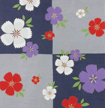 Load image into Gallery viewer, 68cm Rayon Furoshiki - Japanese Dianthus Flower Navy Blue