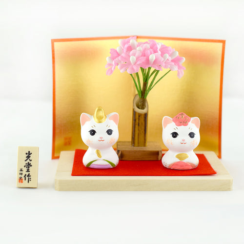 Japan Little Couple Cat with Cherry Blossom Ceramic Figurine Ornament