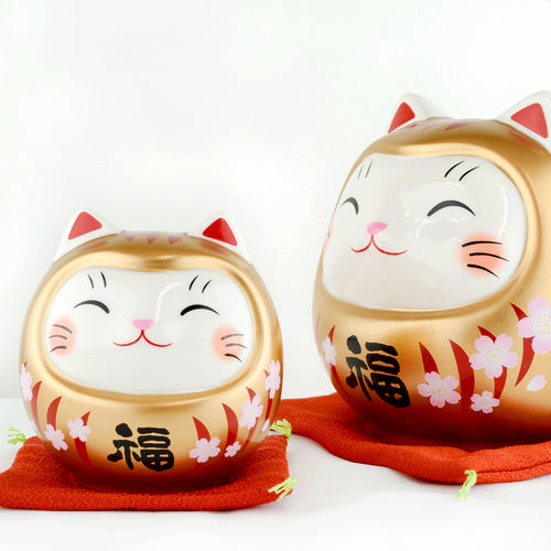 Japanese Cherry Blossoms Gold Cat Ceramic Piggy bank Ornament 2 Sizes