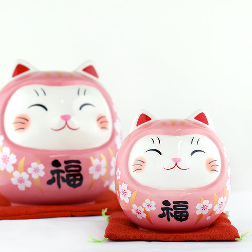 Japanese Cherry Blossoms Pink Cat Ceramic Piggy bank Ornament 2 Sizes
