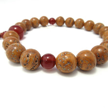 Charger l'image dans la galerie, Brown Bodhi tree Wood & Red Agate Juzu - 京都あさひ屋-Kyoto Asahiya