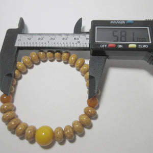 Bodhi Seed Wood Beads & Honey Amber Bracelet - 京都あさひ屋