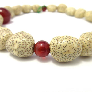 White bodhi seed mala wood & Red Agate Japanese Juzu - 京都あさひ屋-Kyoto Asahiya