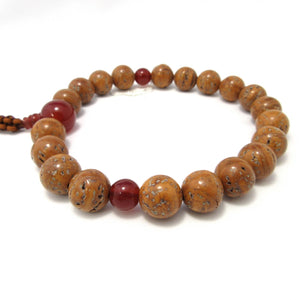Brown Bodhi tree Wood & Red Agate Juzu - 京都あさひ屋-Kyoto Asahiya