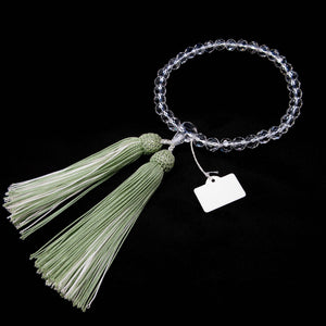 Clear Cut Crystal Quartz with Green tassel Juzu - 京都あさひ屋