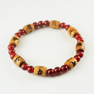 6mm Indian Sandalwood & Red Agate Bracelet