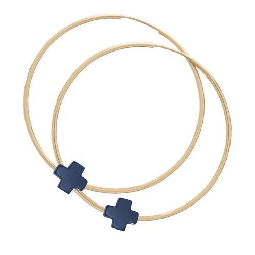 "Enewton - Endless Gold 2"" Hoop - Signature Cross Navy"