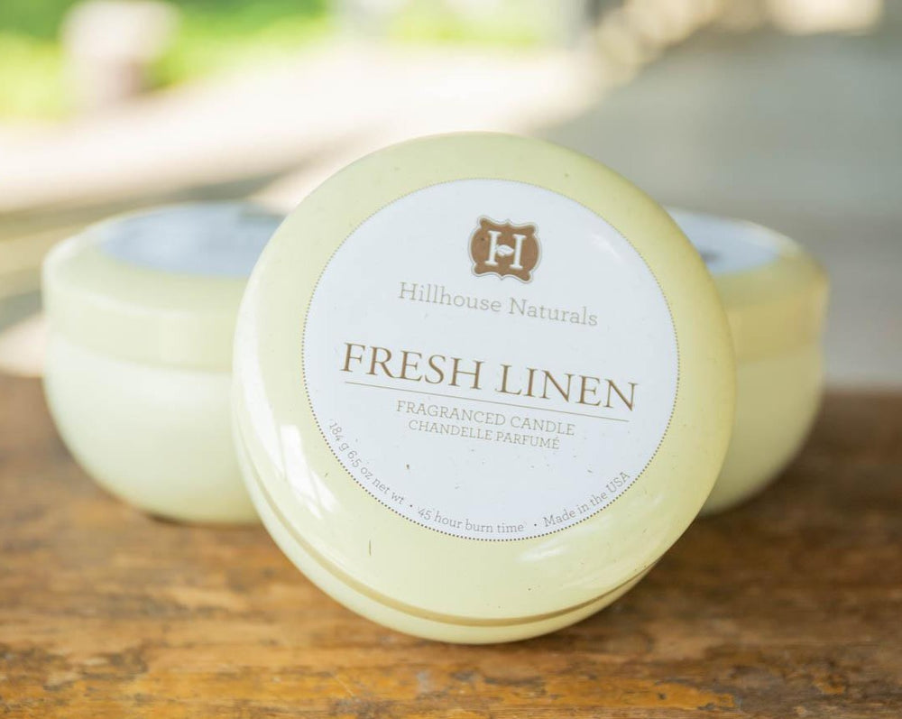 Hillhouse Naturals - Fresh Linen Tin Candle  6.5oz