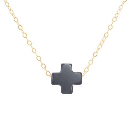 "Enewton - 16"" Necklace Gold - Navy Signature Cross"