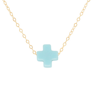 "Enewton - 16"" Necklace Gold - Turquoise Signature Cross"