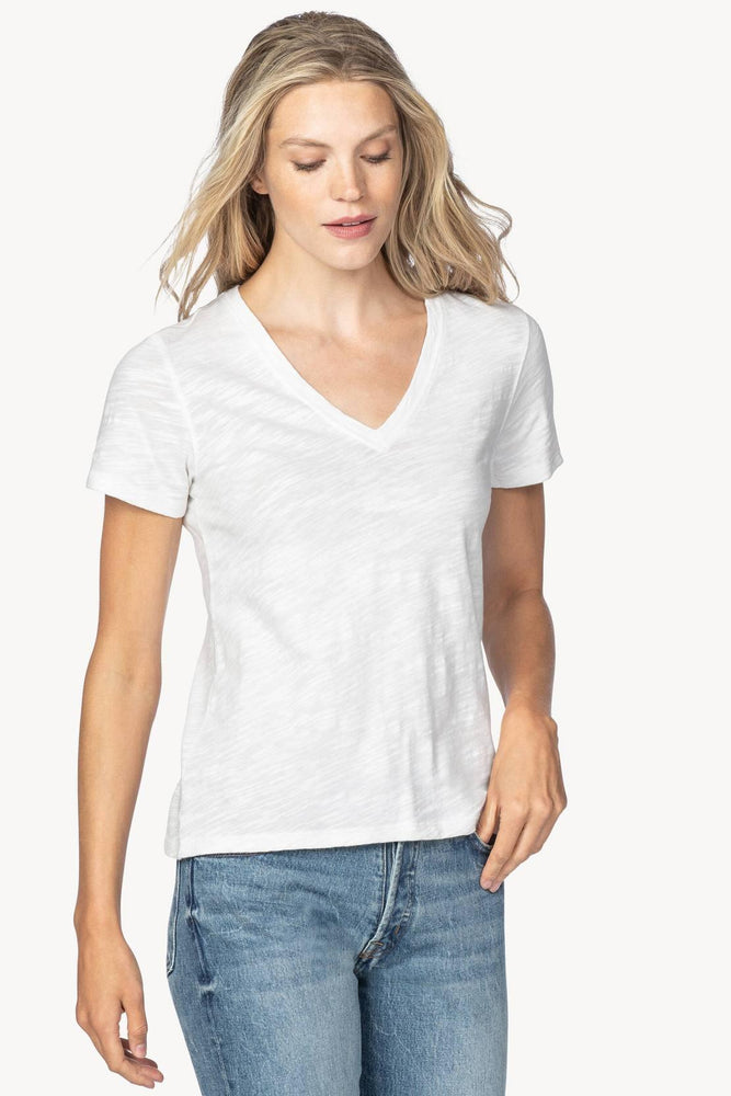 Load image into Gallery viewer, V-Neck Short Sleeve White