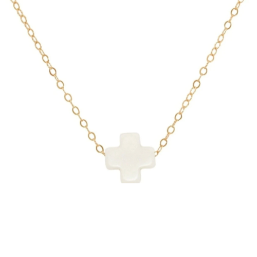 "16"" Necklace Gold - Signature Cross Off-White"