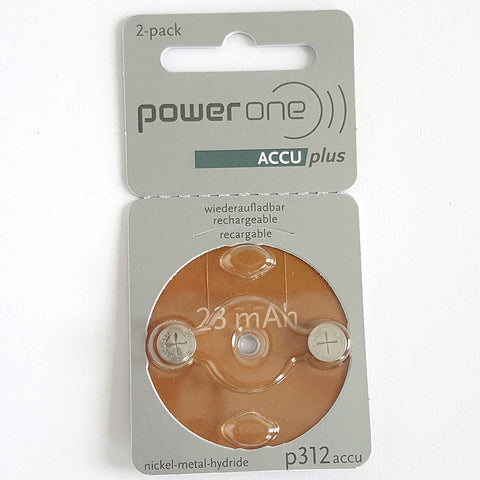 Powerone ACCU Plus Size 312 Rechargeable Battery 2 Pack