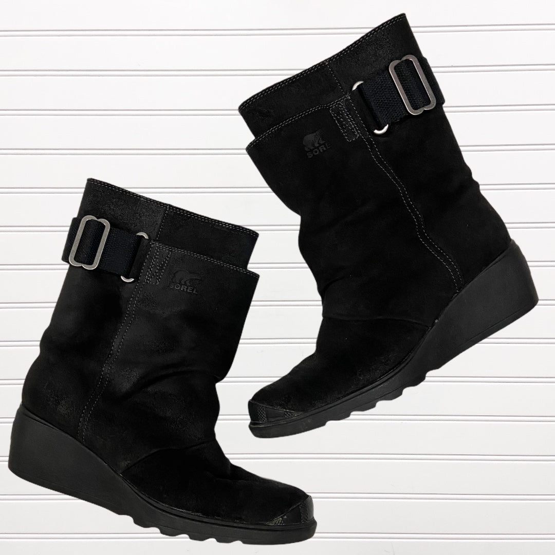 Primary Photo - BRAND: SOREL <BR>STYLE: BOOTS ANKLE <BR>COLOR: BLACK <BR>SIZE: 8 <BR>OTHER INFO: TORONTO WEDGE SNOW BOOT RETAIL $180 <BR>SKU: 117-117120-20827