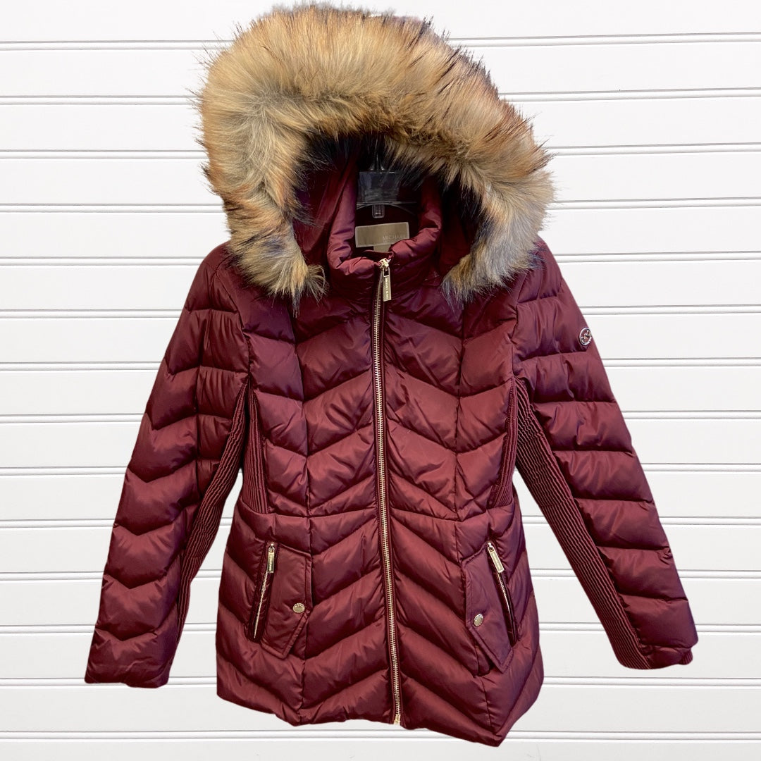 Primary Photo - BRAND: MICHAEL BY MICHAEL KORS <BR>STYLE: COAT LONG <BR>COLOR: BURGUNDY <BR>SIZE: M <BR>SKU: 117-117135-65R