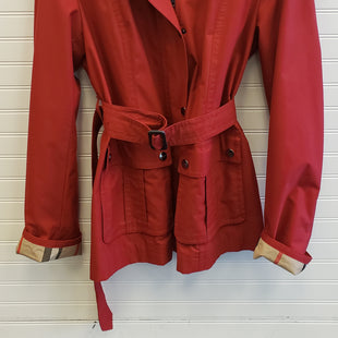Primary Photo - BRAND: BURBERRY STYLE: COAT LONG COLOR: RED SIZE: 14 OTHER INFO: SHORT TRENCH WITH HOOD SKU: 117-11711-188576