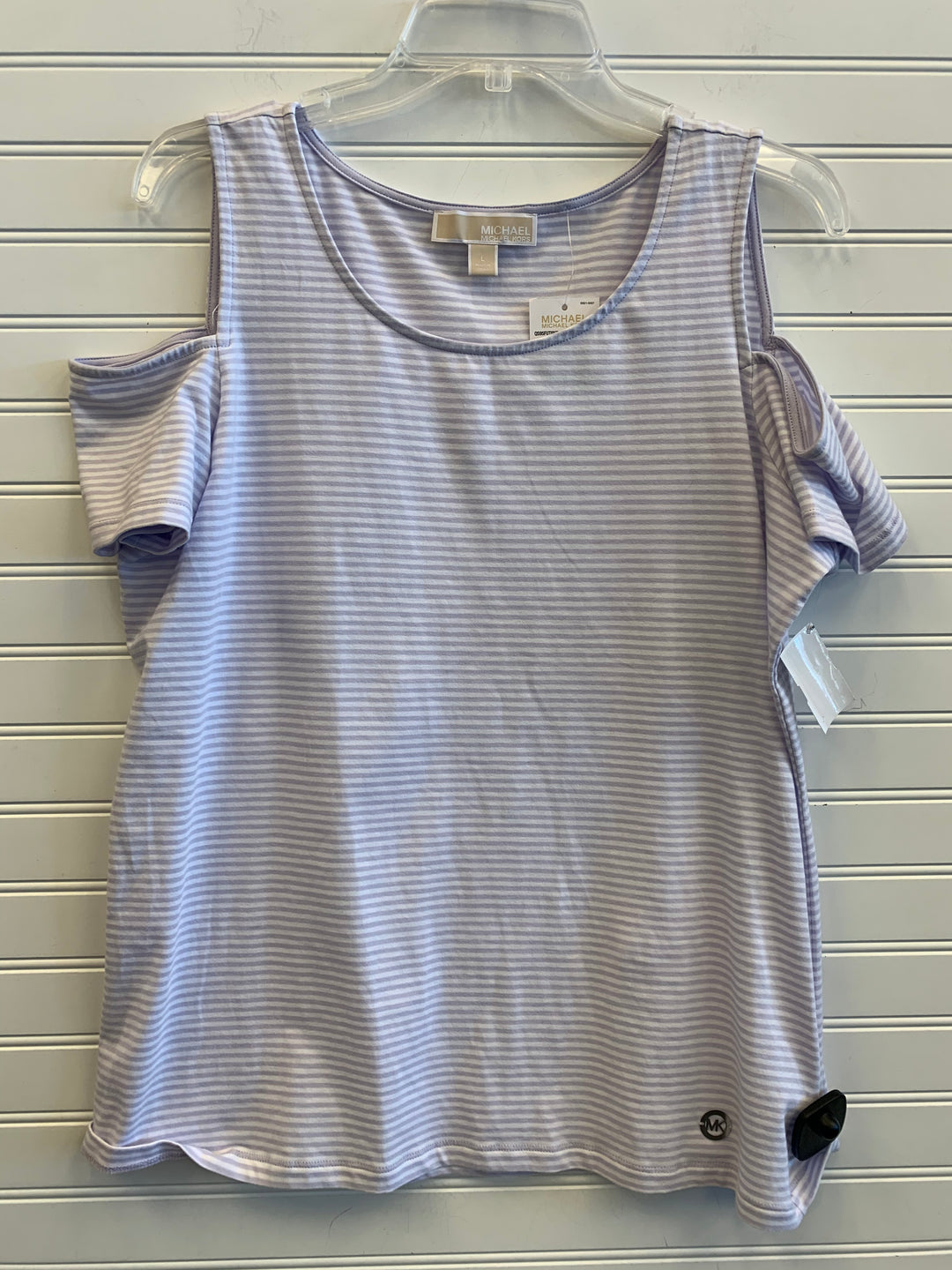 Primary Photo - BRAND: MICHAEL BY MICHAEL KORS <BR>STYLE: TOP SHORT SLEEVE <BR>COLOR: STRIPED <BR>SIZE: L <BR>OTHER INFO: RETAIL $59.50 <BR>SKU: 117-117103-54635R