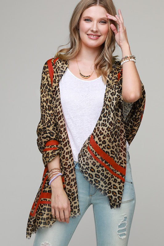Leopard Scarf with Red Stripe