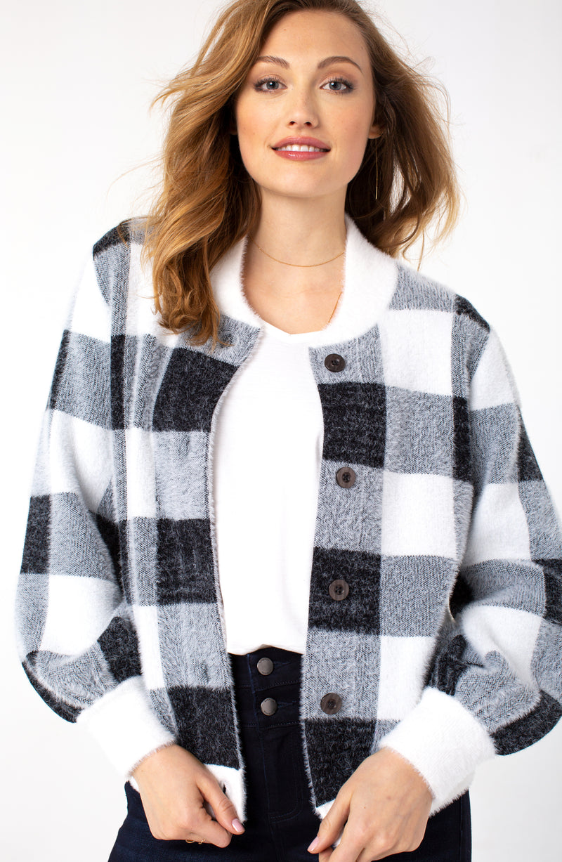 Button Front Sweater Bomber