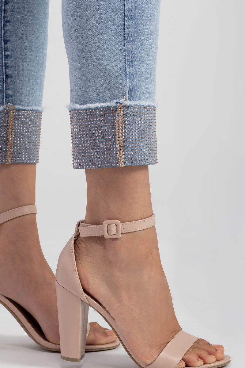 Tribal Rose Gold Cuffed Jeans