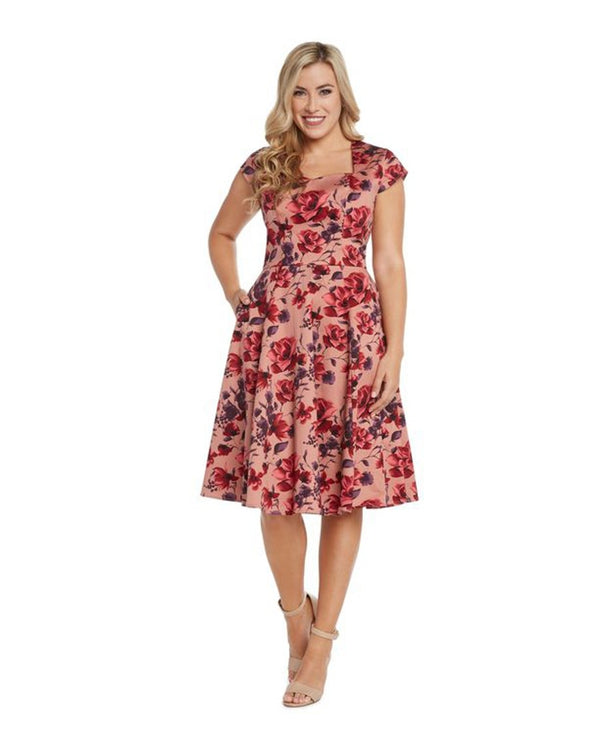 Sweetheart Midi Dress with Cap Sleeve