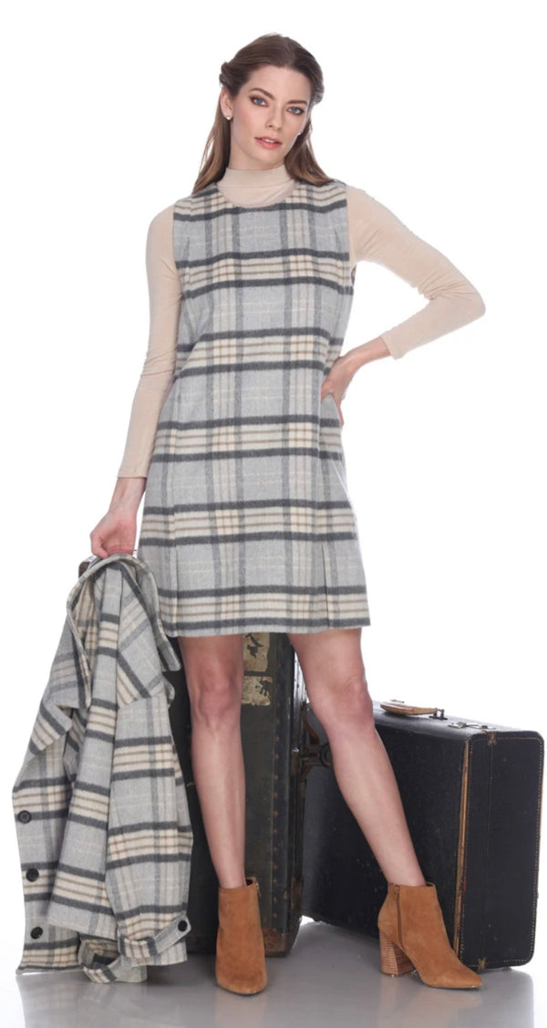 Sleeveless Plaid Dress with Pockets