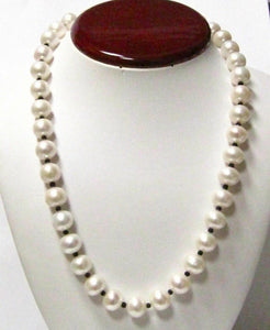 Fine 12mm White Pearl String Necklace with Spinel Gems 20 Inches 14k Yellow Gold