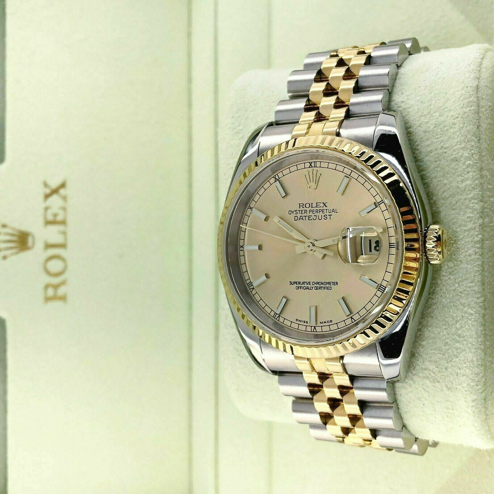 Rolex 36MM Datejust Watch 18K Yellow Gold Steel Ref 116233 F Serial Box Papers
