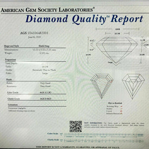 Loose Diamond AGS Diamond - 2.52 Carats Shield Step Cut Diamond K SI2