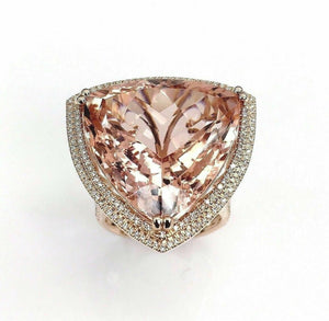 29.86 Carats t.w. Diamond and Morganite Double Halo Ring 14K Gold Brand New