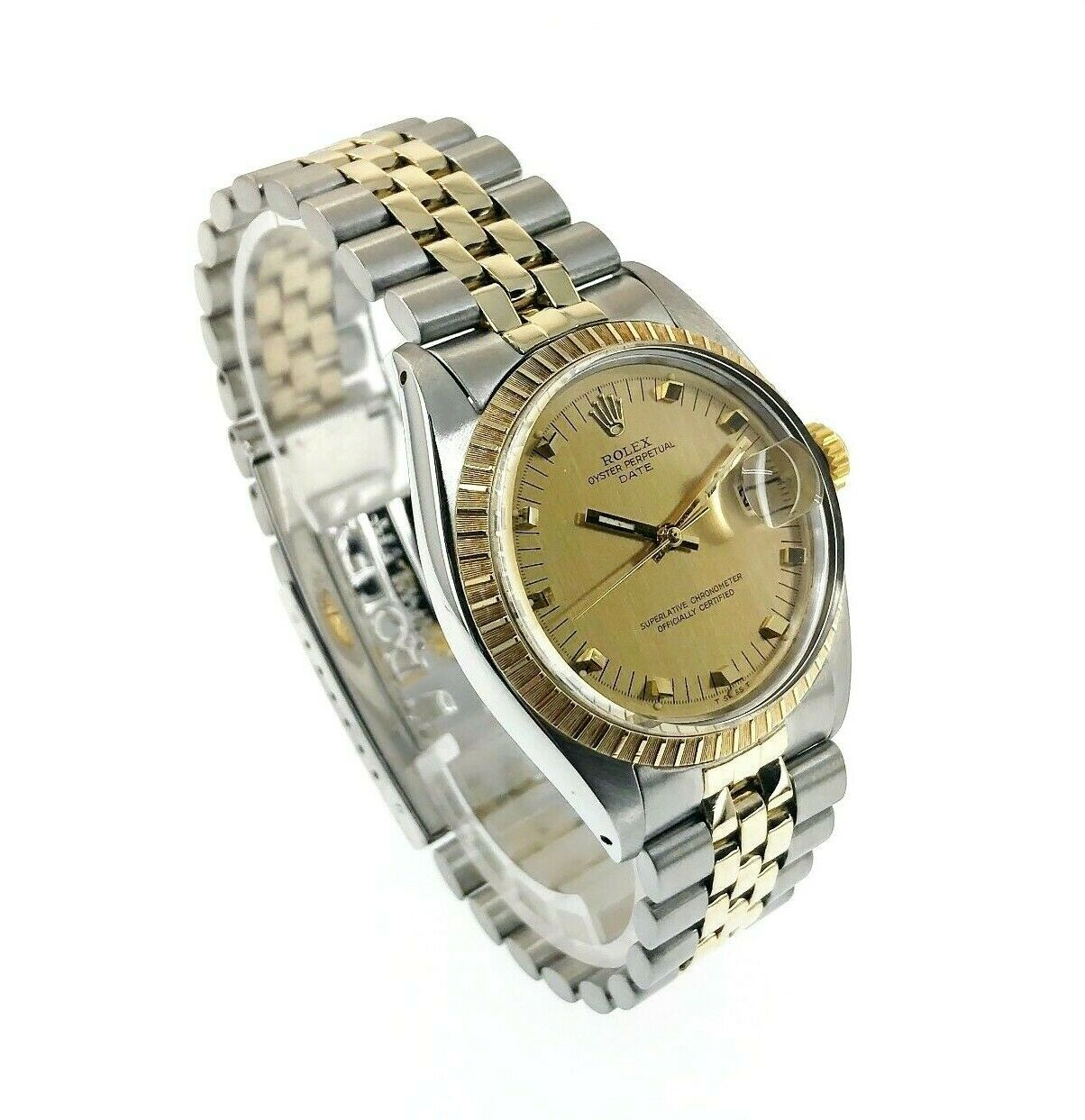 Vintage Rolex 34MM Two Tone Date 14K Yellow Gold Steel Watch Ref # 1505 1950's