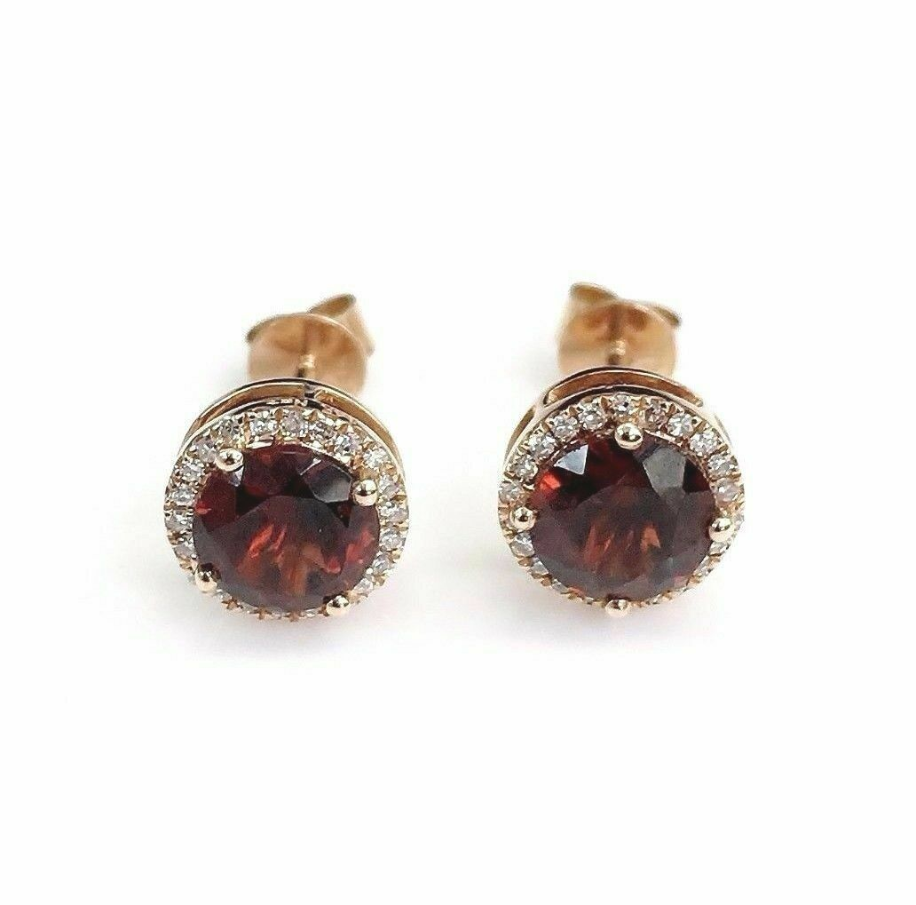 2.32 Carats t.w. Garnet and Diamond Halo Stud Earrings 14K Rose Gold New