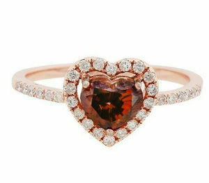 1.27Ct Natural Fancy Brown Heart Shape Diamond Cocktail Ring Sz7 14k Rose Gold