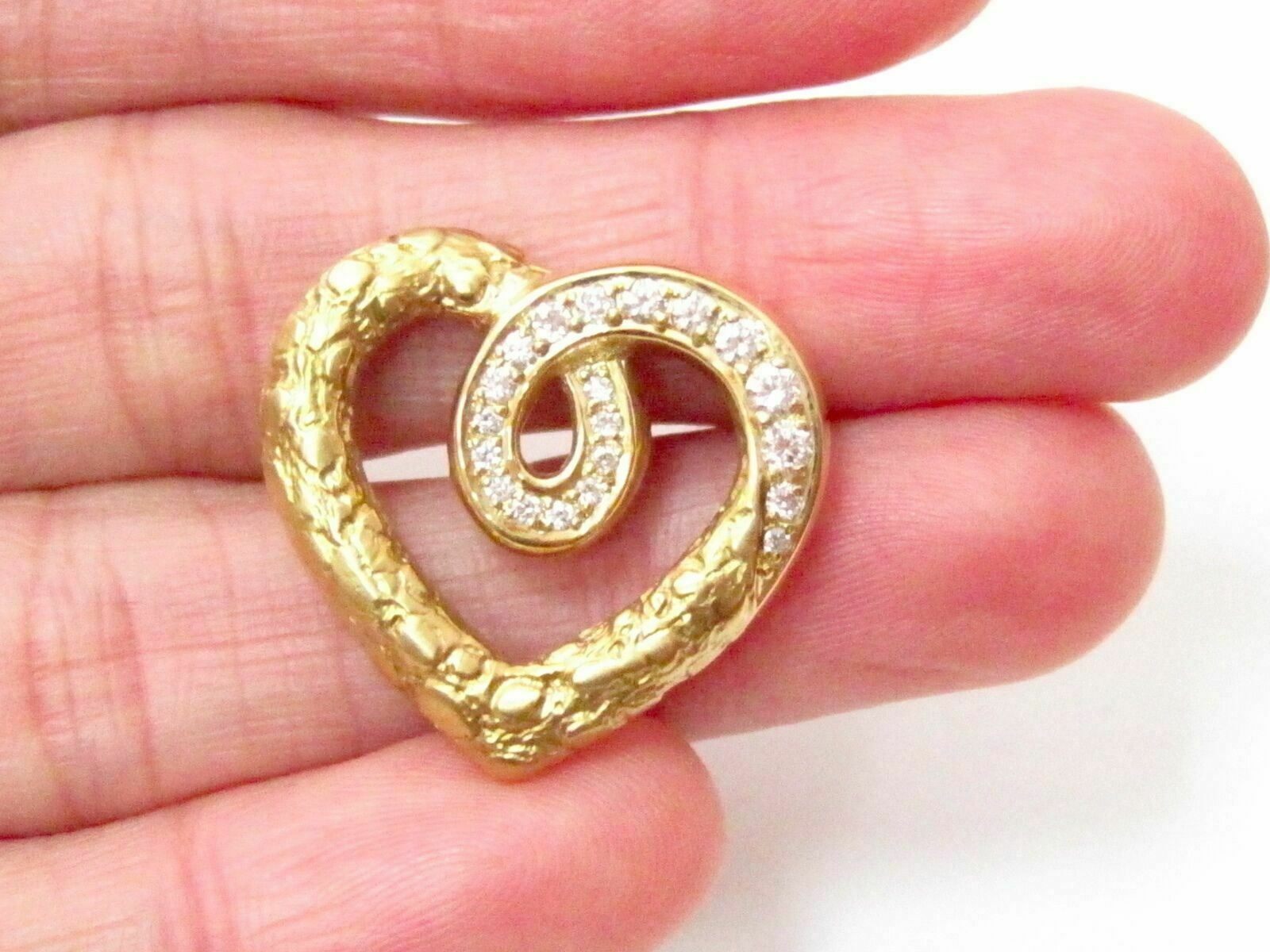 Fine .30 TCW 18k Yellow Gold Nugget Round Diamond Heart Pendant Necklace G VS2