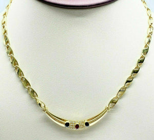 0.82 Carats t.w. Solid 18 Karat Yellow Gold Diamond Ruby and Sapphire Necklace