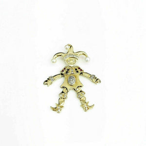 0.39 Carat Custom Made 14K Jester/Joker Pendant Diamond, Sapphire Ruby & Pearls