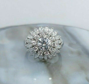 Vintage 3.40 Carats Platinum Round & Marquise Diamond Wedding Anniversary Ring