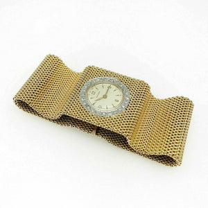 Vintage Womens Diamond Longines Mesh Bracelet Watch Solid 18 Karat Yellow Gold