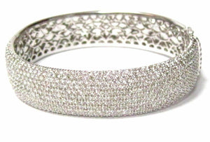 10.80 TCW Art Deco Micro-Pave Round Diamond Bangle/Bracelet G VS1 18k White Gold
