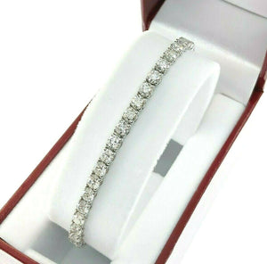 5.33 Carats t.w. Diamond Tennis Bracelet 18K White Gold 62 Round Diamonds
