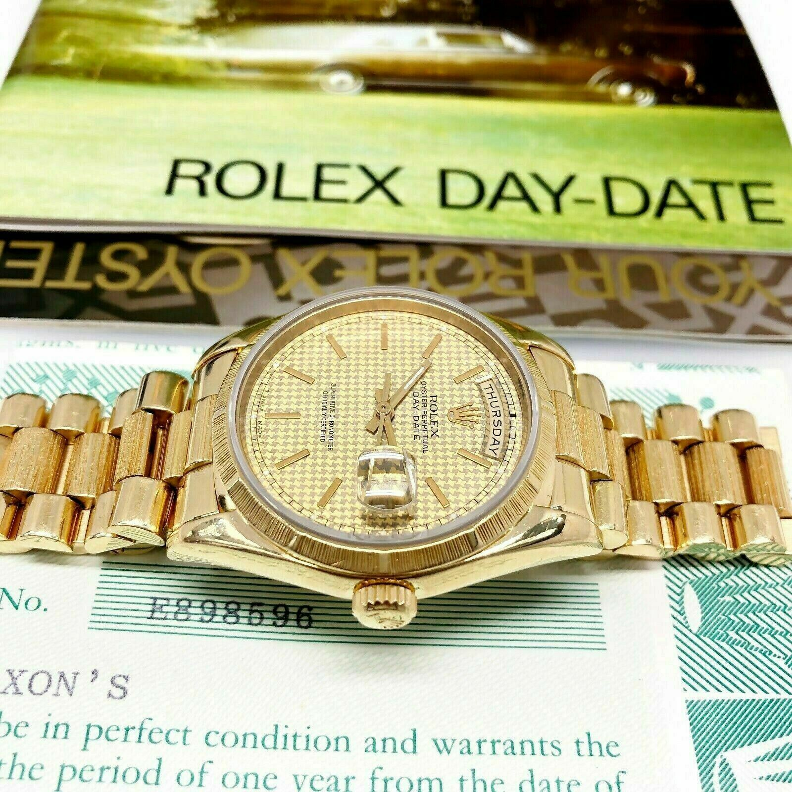 Rolex Day Date President 36mm Watch 18248 Box and Paper Houndstooth Factory Dial