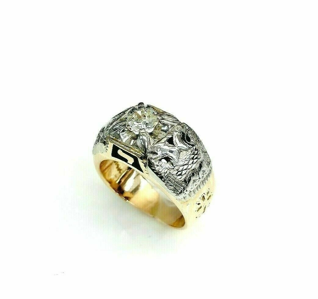 0.60 Carat Vintage Old Euro Masonic Mens Diamond Two Tone Ring 14K Gold