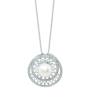 0.58 Carats Pave Halo Cultured Pearl Diamond Pendant 14K White Gold w 14K Chain