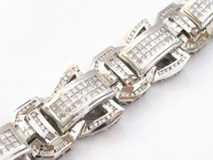 17.86 TCW Men's Round & Princess Cut Invisible Set Diamond Bracelet G VS2 14k