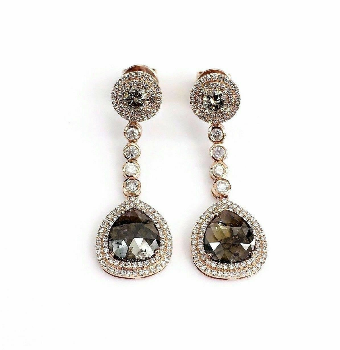 3.85 Carats Drop Rustic Pears Champagne Diamond Dangling Earrings 14kt Rose Gold