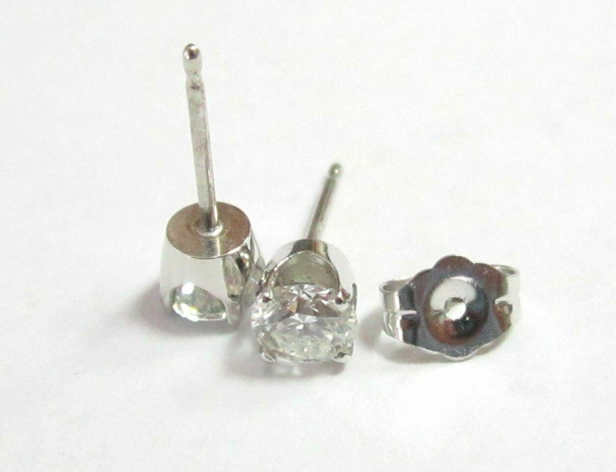 .69 Total Carats Round Cut Diamond Stud Earrings Push Back G-H SI1 14k WhiteGold