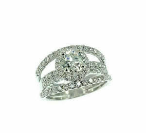 1.98 Carats t.w. Round Diamond Halo 4 Row Engagement Ring 14k Gold 0.87 Center